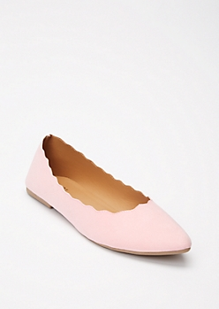 Pink Pointy Toe Scalloped Flats