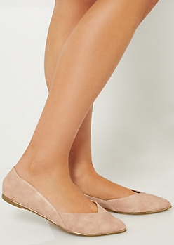 Pink Metallic Pointed Toe Flats