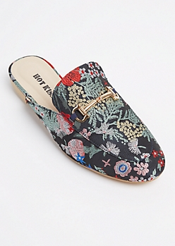 Navy Floral Embroidered Mules