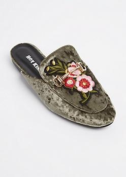 Olive Velvet Floral Embroidered Mules