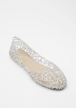 Silver Cut Out Glitter Jelly Flats