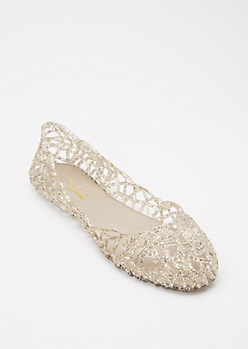 Clear Cut Out Glitter Jelly Flats