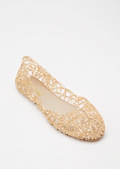 Rose Gold Cut Out Glitter Jelly Flats