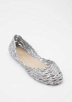 Silver Glitter Jelly Flats