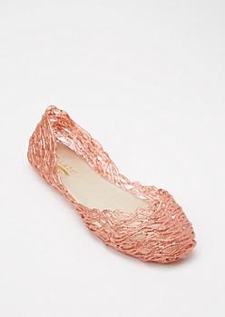 Pink Glitter Jelly Flats