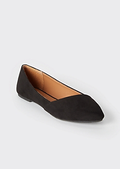 Black Asymmetrical Pointy Toe Flats