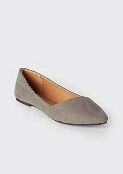 Gray Asymmetrical Pointy Toe Flats