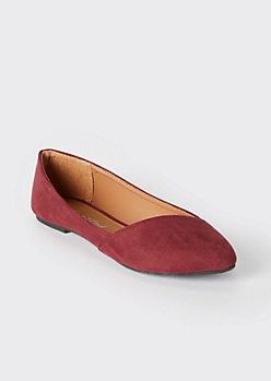 Burgundy Asymmetrical Pointy Toe Flats