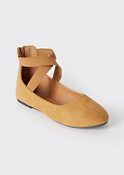 Camel Strappy Ballet Flats