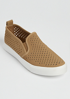 Tan Cutout Slip On Sneaker