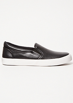 Black Perforated Gore Slip On Sneakers