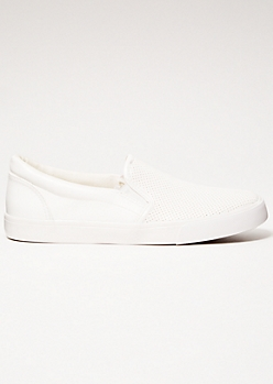 White Perforated Gore Slip On Sneakers