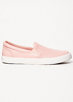 Pink Perforated Gore Slip On Sneakers