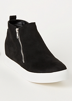 Black Platform Side Zip Wedged Sneakers