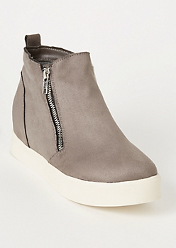 Gray Platform Side Zip Wedged Sneakers