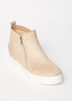 Beige Faux Suede Gore Wedge Sneakers