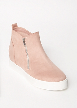 Pink Faux Suede Gore Wedge Sneakers