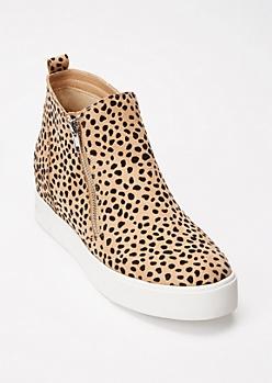 Cheetah Print Faux Suede Gore Wedge Sneakers