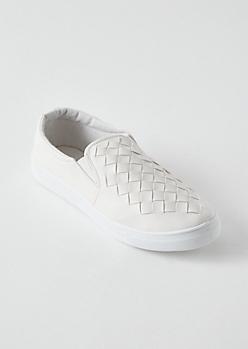 White Woven Slip Ons