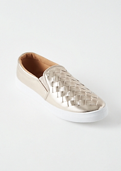 Rose Gold Metallic Woven Slip Ons