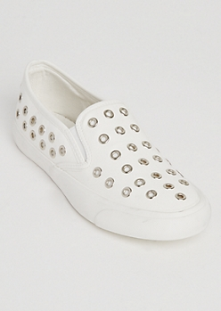 White Faux Leather Grommet Detail Sneakers