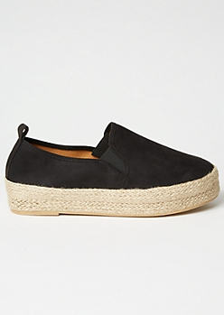 Black Faux Suede Espadrille Slip On Sneakers