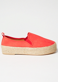 Red Faux Suede Espadrille Slip On Sneakers