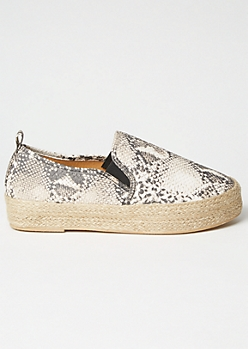Snakeskin Espadrille Slip On Sneakers