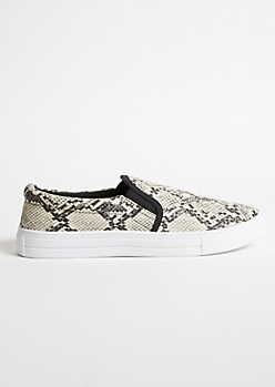 Snakeskin Double Gore Slip On Sneakers