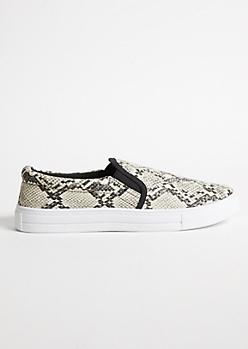 88b317039d6 Snakeskin Double Gore Slip On Sneakers