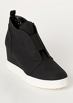 Black Perforated Gore Wedge Sneakers
