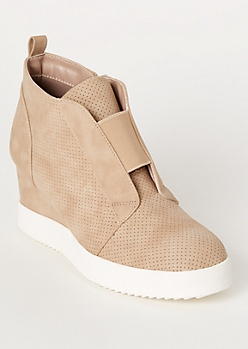 Taupe Perforated Gore Wedge Sneakers