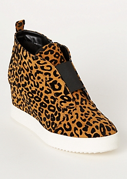 Leopard Print Gore Wedge Sneakers