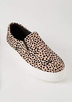 Cheetah Print Platform Slip Ons