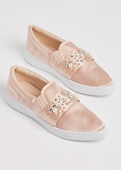 Pink Pearl Sateen Skate Shoes