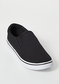 Black Canvas Slip On Shoes