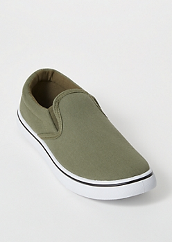 Olive Canvas Slip On Shoes