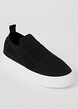 Black Mesh Knit Slip On Sneakers