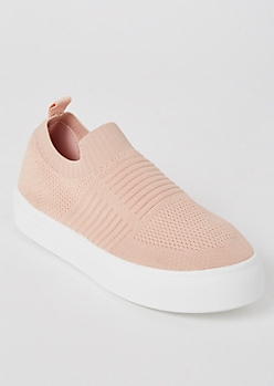 Pink Mesh Knit Slip On Sneakers