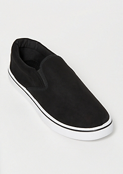 Black Faux Suede Gore Slip On Sneakers