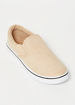 Nude Faux Suede Gore Slip On Sneakers