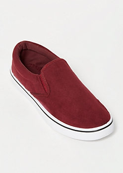 Burgundy Faux Suede Gore Slip On Sneakers