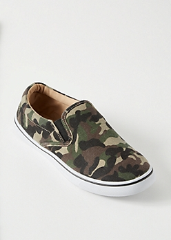 Camo Print Double Gore Slip On Sneakers