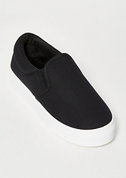Black Platform Slip On Sneakers