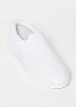White Platform Slip On Sneakers