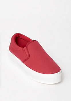 Burgundy Platform Slip On Sneakers