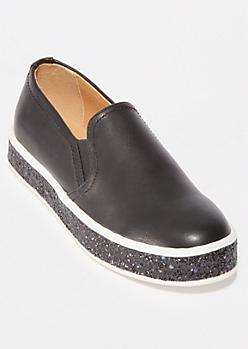 Black Glitter Platform Sneakers
