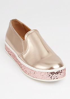 Rose Gold Glitter Platform Sneakers