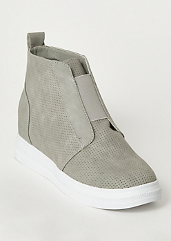 Gray Perforated Wedge Sneakers
