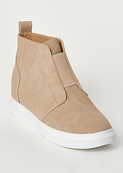 Tan Perforated Wedge Sneakers